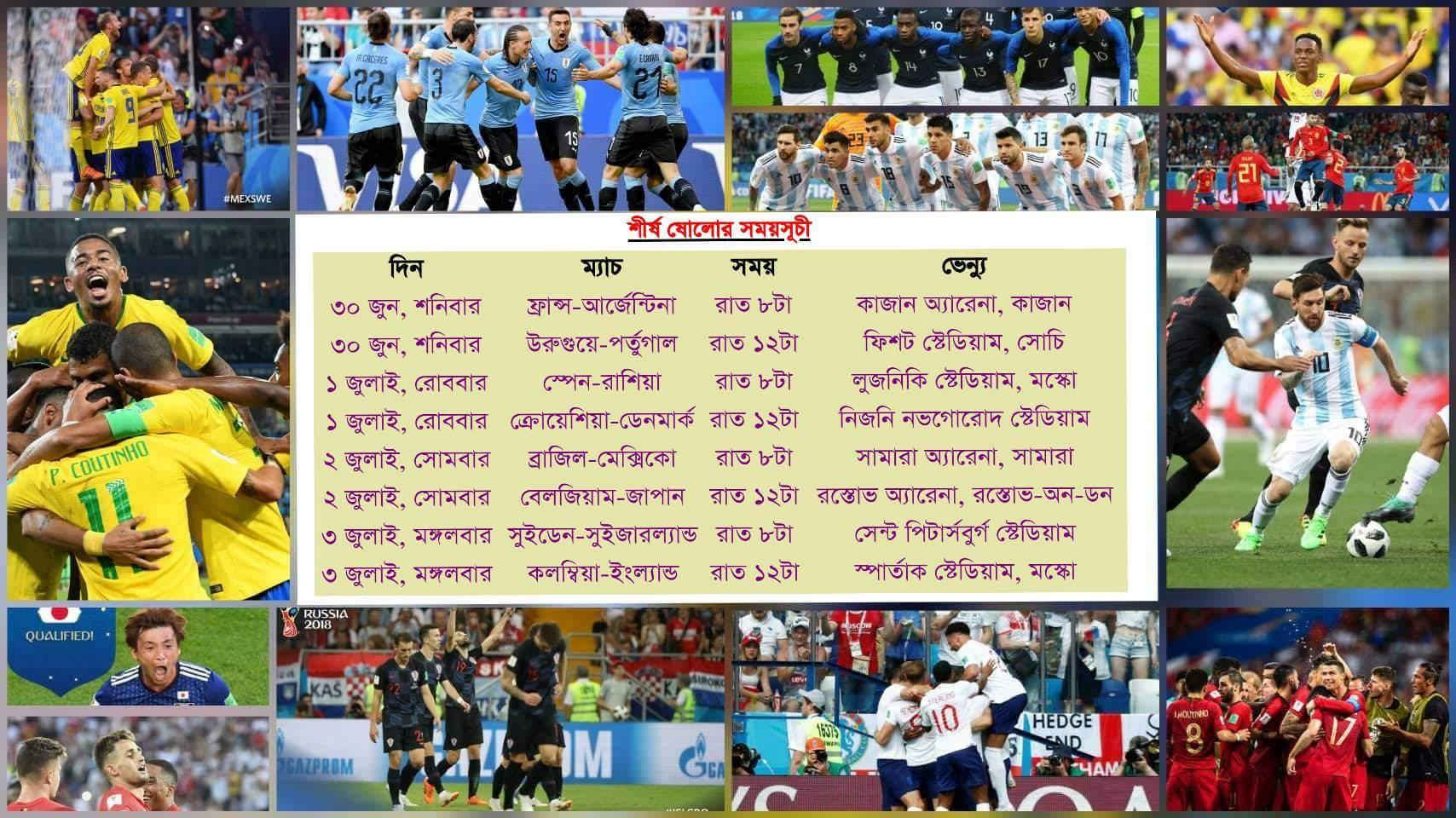 ঠিক হয়ে গেল রাশিয়ার বিশ্বকাপের দ্বিতীয় পর্বের ১৬ দল